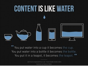 Content is like water, Josh Clark (originally bruce Lee) - Seven deadly mobile myths. Illustration by Stephanie Walter.